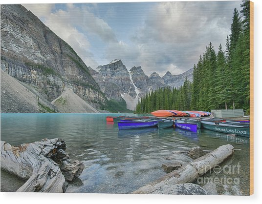 Moraine Logs And Canoes Wood Print