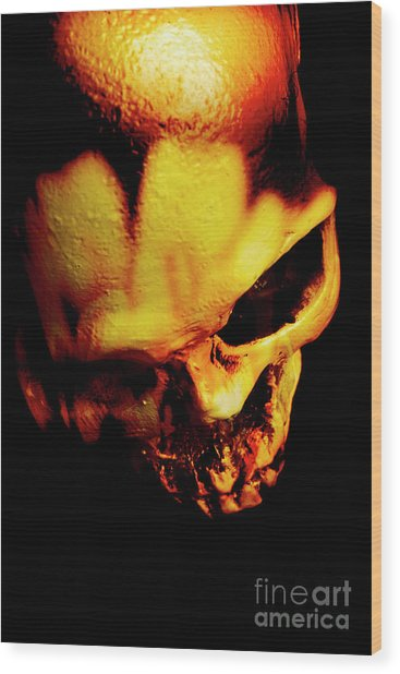 Morbid Decaying Skull Wood Print