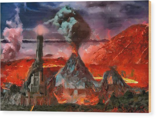 Mordor Panorama Wood Print