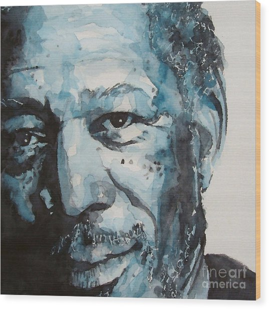Morgan Freeman Wood Print by Paul Lovering