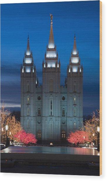 Mormon Temple Christmas Lights Wood Print