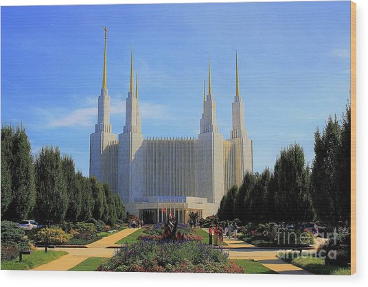 Wood Print featuring the photograph Mormon Temple Dc by Patti Whitten