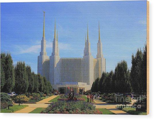 Mormon Temple Dc Wood Print