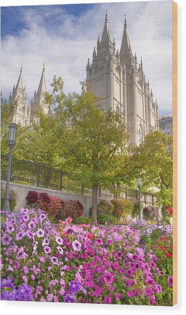 Mormon Temple Salt Lake City Wood Print