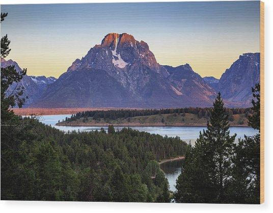 Morning At Mt. Moran Wood Print