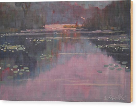 Morning At The Forth Pond Wood Print
