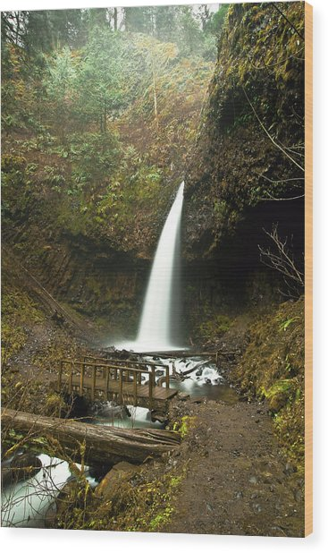 Morning At The Waterfall Wood Print