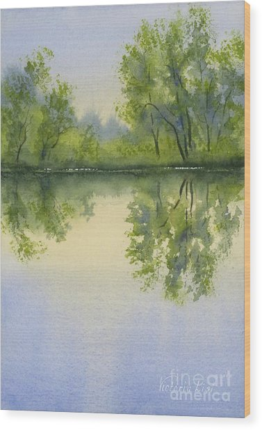 Morning At Turtle Pond Wood Print