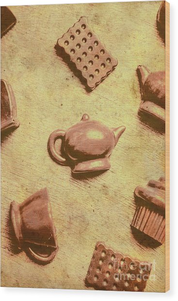 Morning Breakfast Chocolate Tea Set  Wood Print