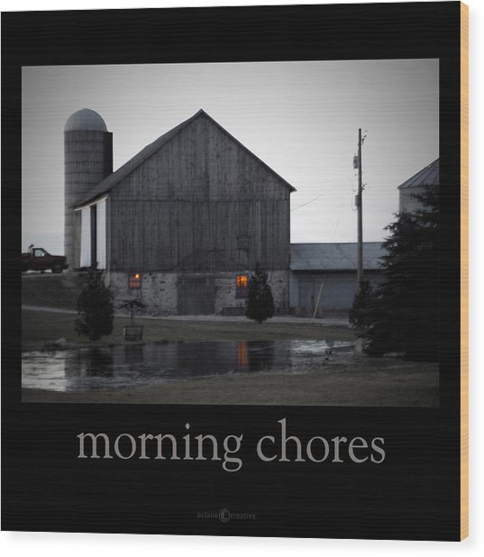 Morning Chores Wood Print