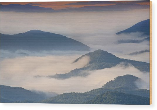 Morning Cloud Colors Wood Print
