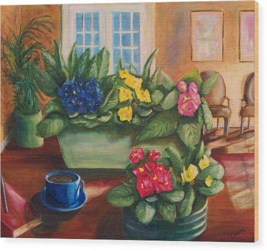 Morning Coffee Wood Print by Dana Redfern