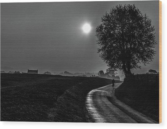 Morning Dew Bw Wood Print