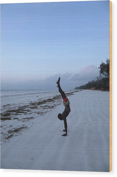 Morning Exercise On The Beach Wood Print