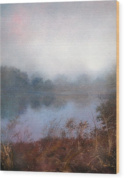 Wood Print featuring the painting Morning Fog by Andrew King