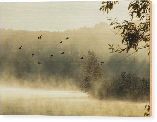 Morning Fog On Haley Pond In Rangeley Maine Wood Print