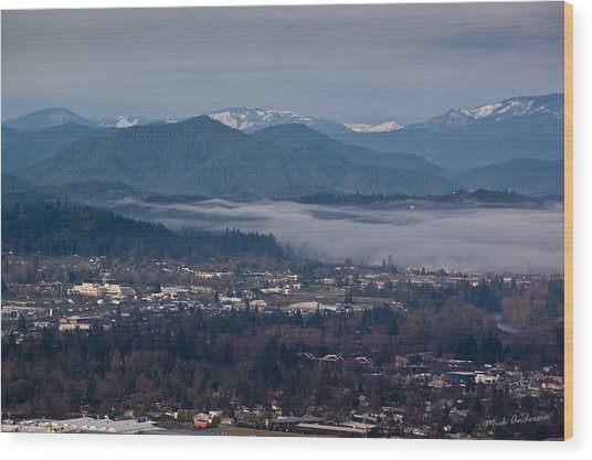 Morning Fog Over Grants Pass Wood Print