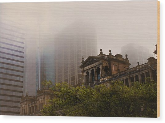 Morning Fog Over The Treasury Wood Print