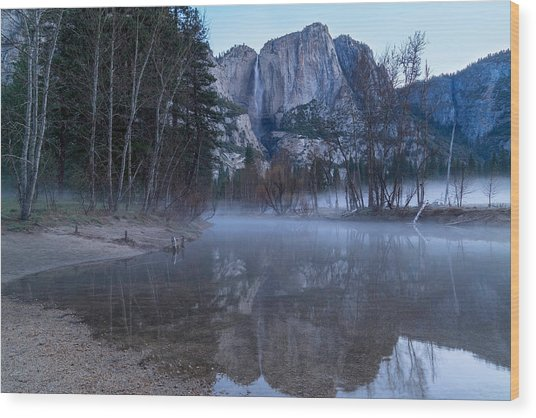 Morning Fog Yosemite Falls Wood Print