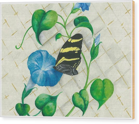 Morning Glories And Butterfly Wood Print by Sally Balfany