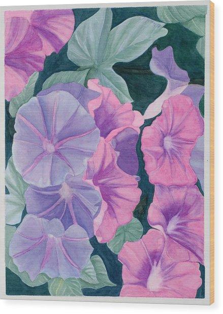 Morning Glories Wood Print by Barbara Pascal