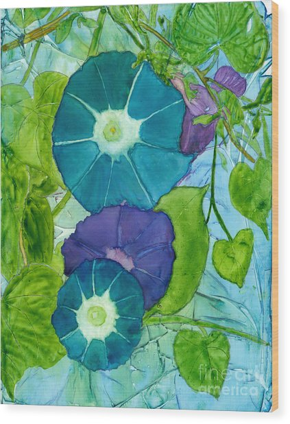 Morning Glories In Watercolor On Yupo Wood Print