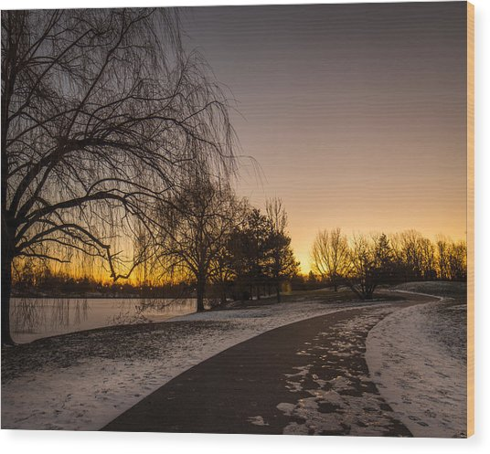 Morning Glow Along Hoyt Lake Wood Print