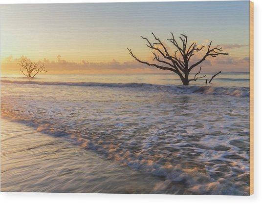Morning Glow At Botany Bay Beach Wood Print