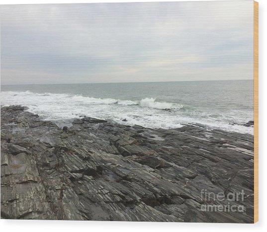 Morning Horizon On The Atlantic Ocean Wood Print