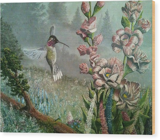 Morning Hummingbird Wood Print