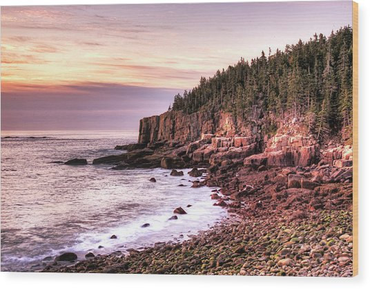 Morning In Acadia Wood Print