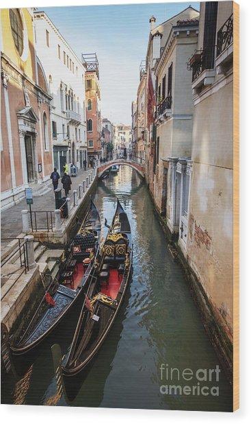 Morning In Venice In Winter Wood Print