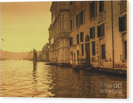 Morning In Venice Sepia Wood Print