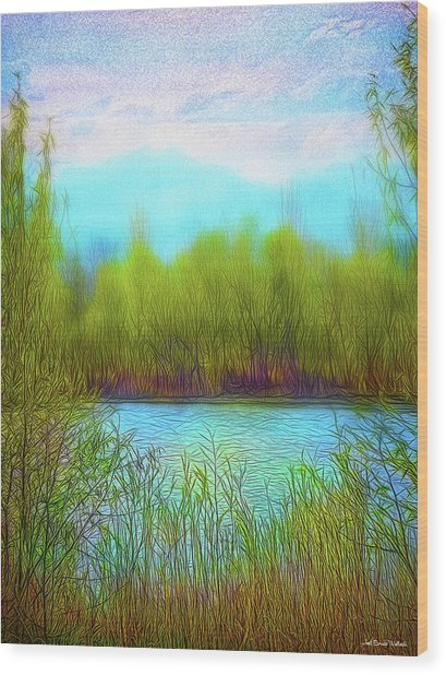 Morning Lake In Stillness Wood Print