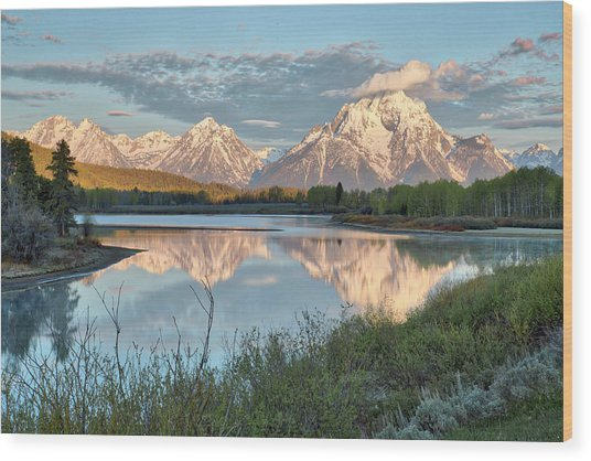Morning Light At Oxbow Bend Wood Print