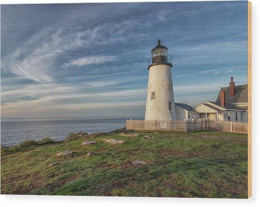 Morning Light At Pemaquid Point Wood Print