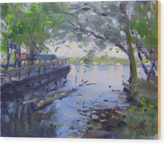 Morning Light By The River Wood Print