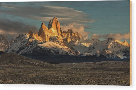 Wood Print featuring the photograph Morning Light On Fitzroy by Stuart Gordon