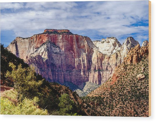 Morning Light On Zion's West Temple Wood Print