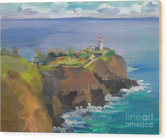 Morning Lighthouse Wood Print by Cynthia Riedel