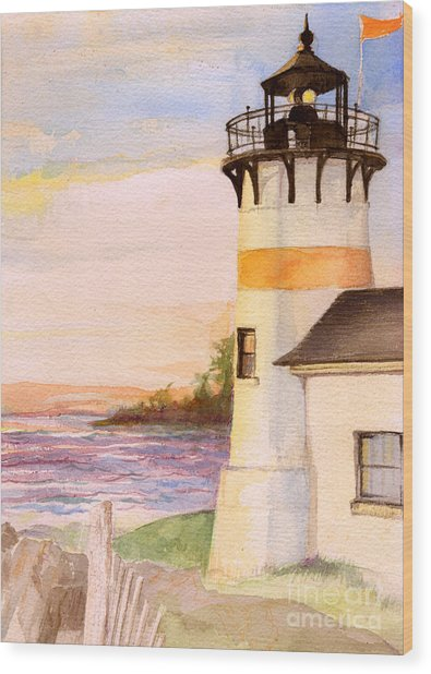 Morning, Lighthouse Wood Print