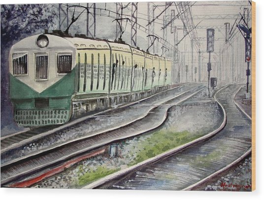 Morning Local Train Wood Print