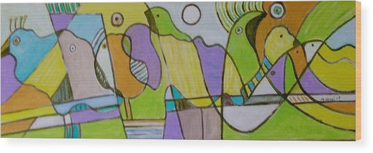 Morning Love With Birds By The Mirror Wood Print by Michael Keogh