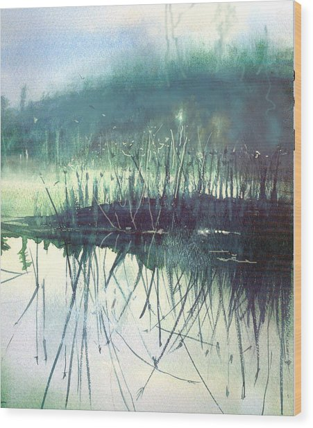 Morning Marsh Wood Print