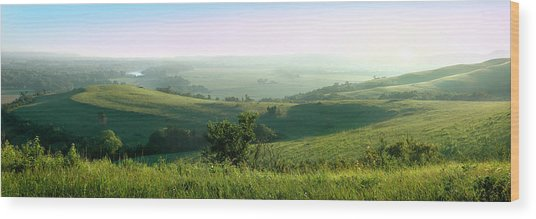 Morning Mist - Kansas River Valley Wood Print