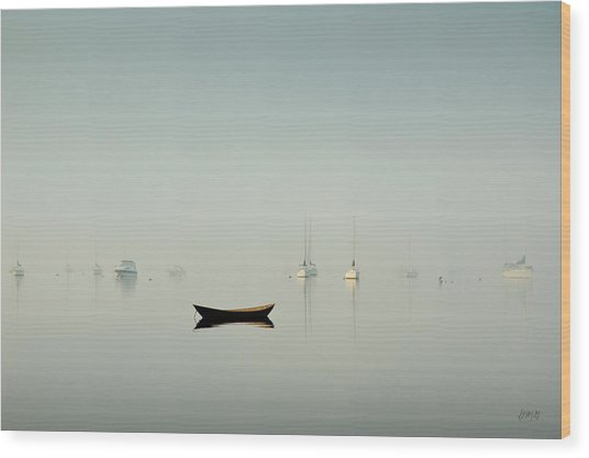 Morning Mist Bristol Harbor Wood Print