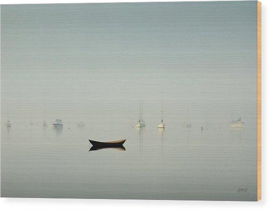 Morning Mist Bristol Harbor Wood Print