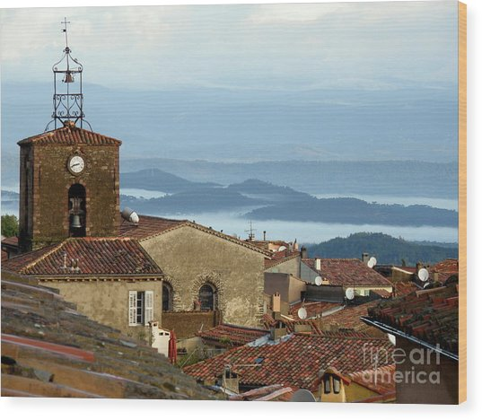 Morning Mist In Provence Wood Print