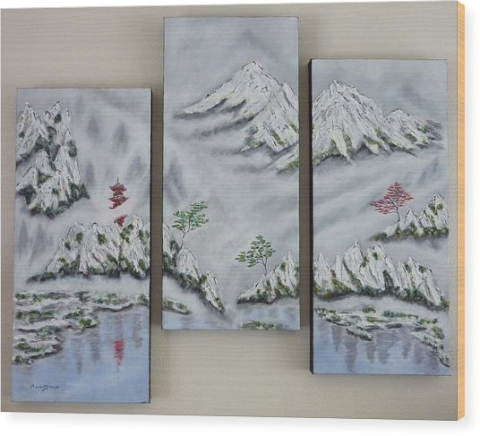 Morning Mist Triptych Wood Print