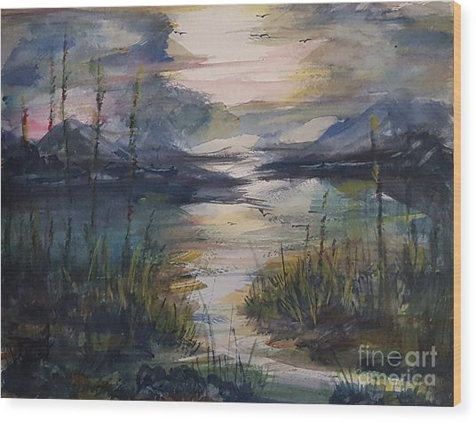 Morning Mountain Cove Wood Print